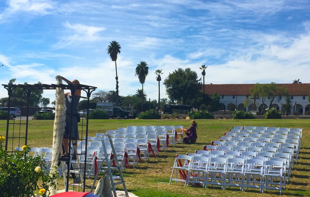 santa barbara mission rose gardens wedding